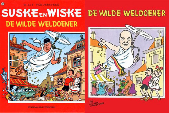 The original cover of Suske en Wiske and its adaptation by Mr Deckmyn