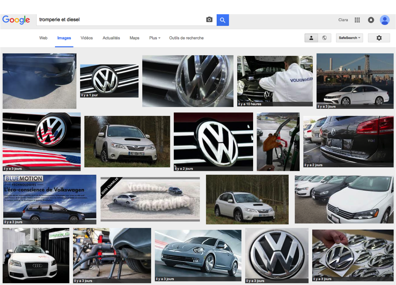 Recherche sur Google le 25 sept. 2015